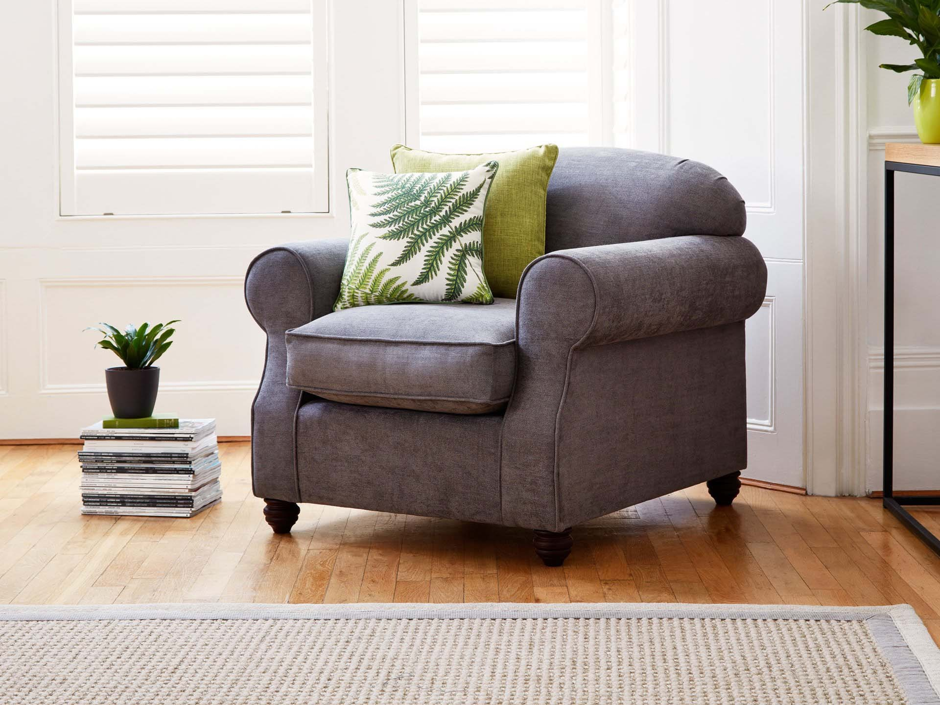 This is how I look in Stain Resistant Linen Cotton Pewter with siliconized hollow fibre or feather-wrapped foam seat cushions
