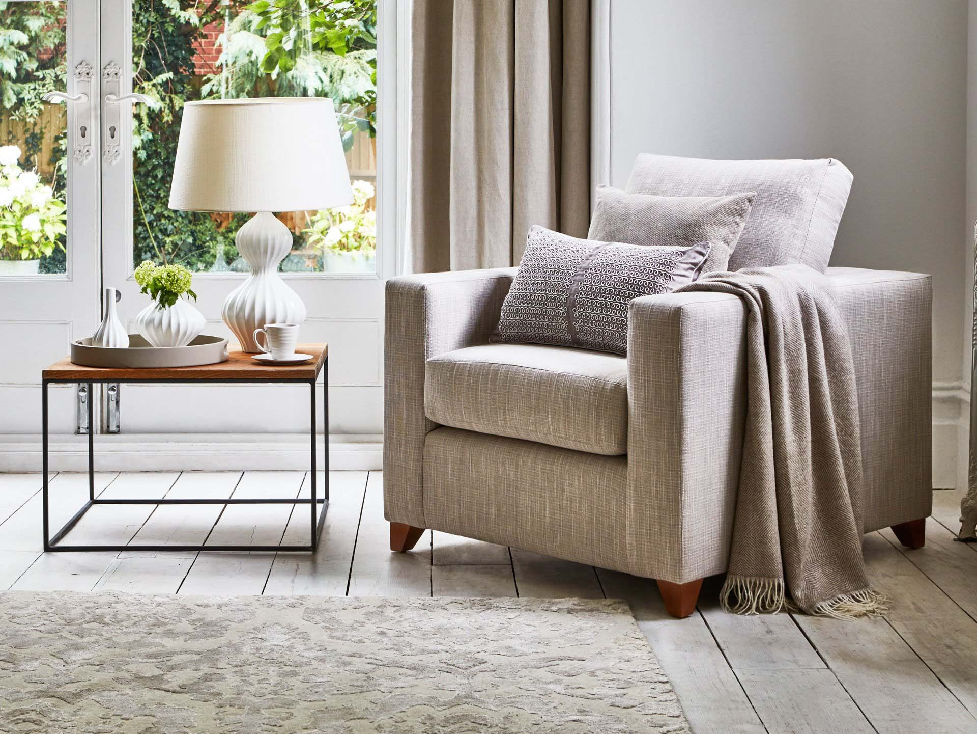 This is how I look in House Linen Vintage Grey with reflex foam seat cushions