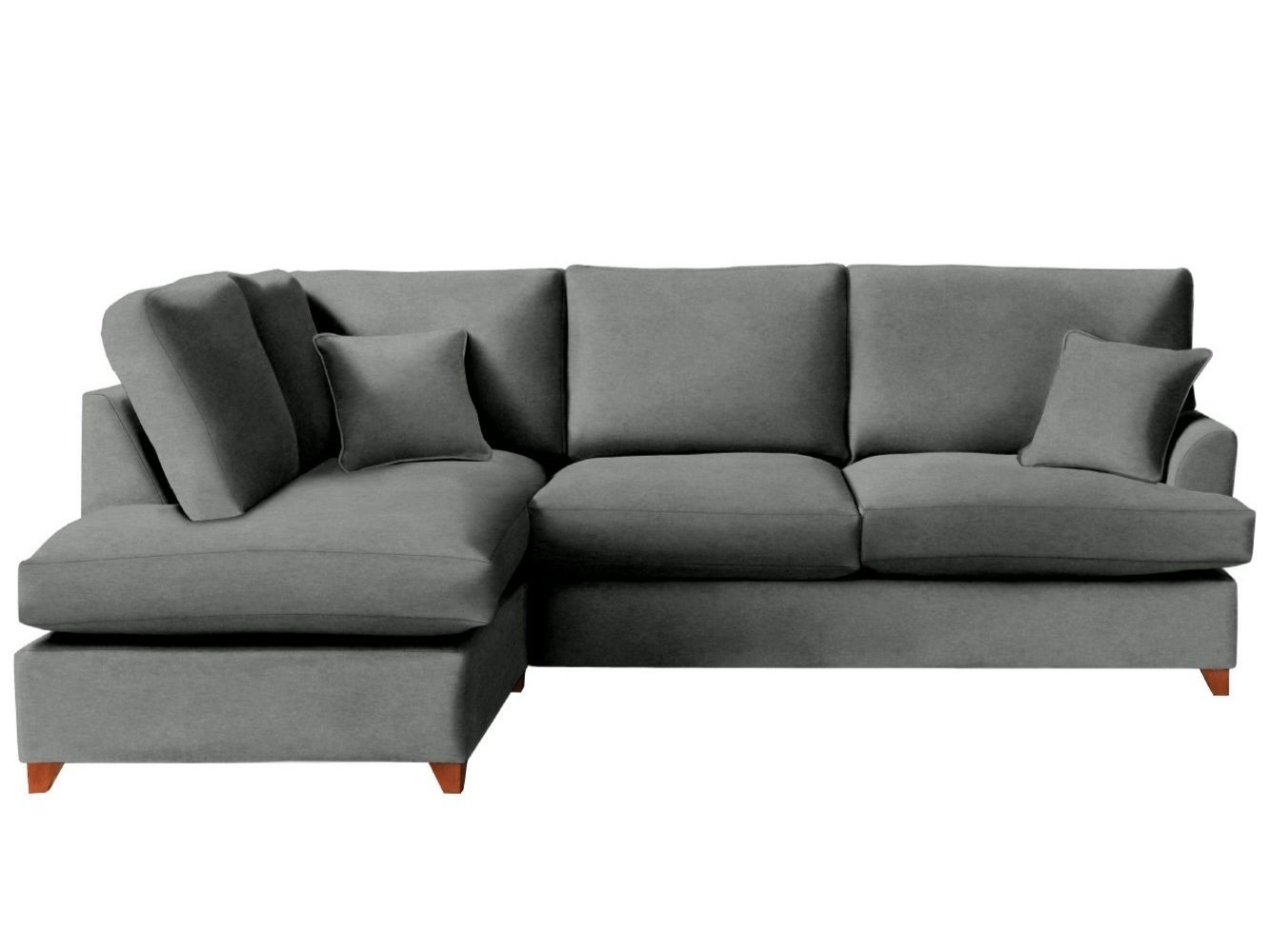 This is how I look in Stain Resistant Vintage Velvet Asphalt with feather-wrapped foam seat cushions